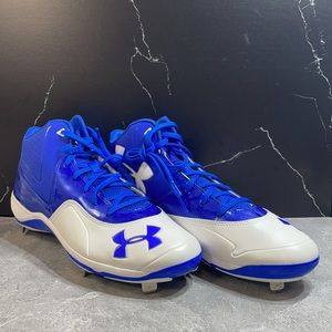 Under Armour Baseball Cleats White/Blue Size 12m